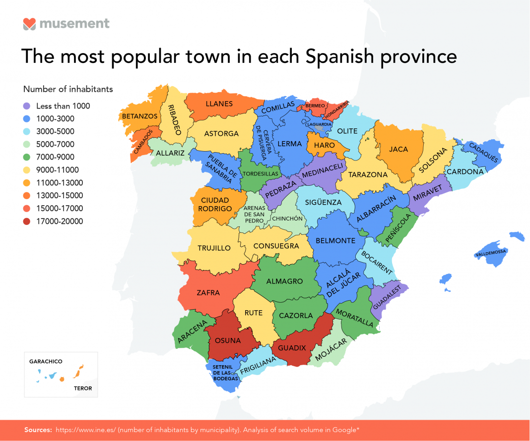 Most popular towns in each Spanish province revealed