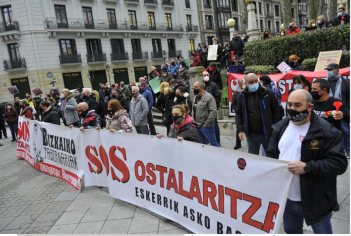 The Basque hoteliers have demonstrated this Tuesday in Bilbao