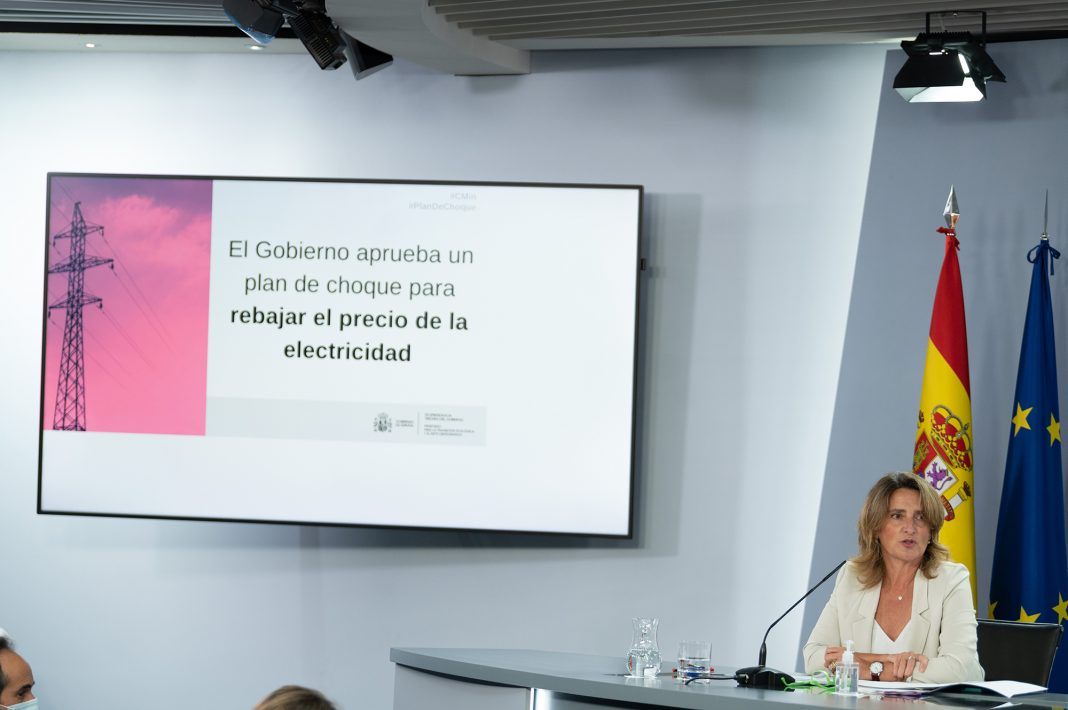 Minister Teresa Ribera, during her speech at the press conference following the Council of Ministers meeting.